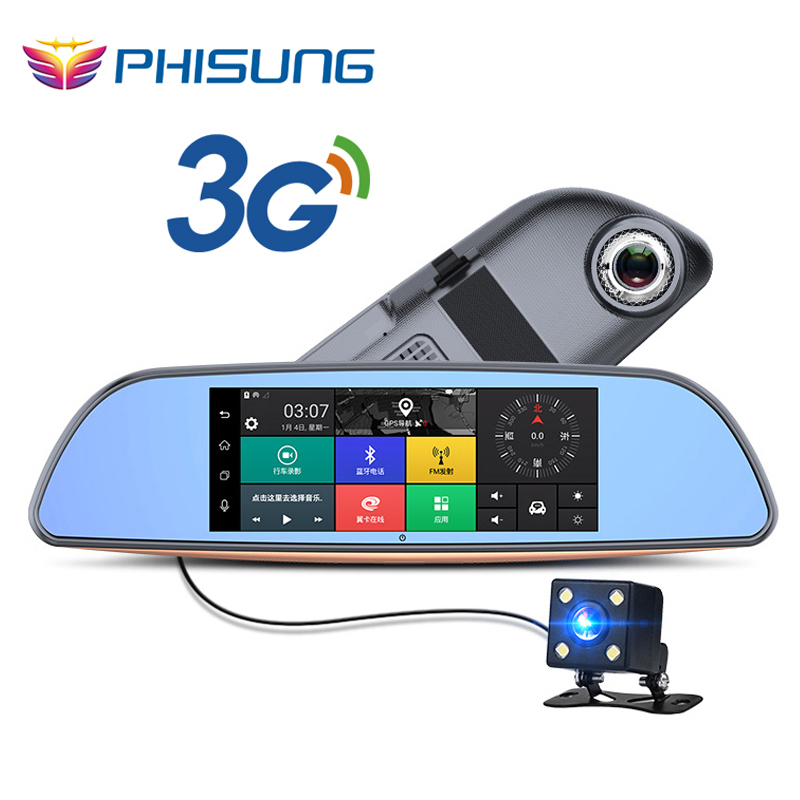 imágenes para Libre 32 GB tarjeta + 3G DVR Coche + Android 5.0 Bluetooth GPS FM transmisor de Doble lente de espejo retrovisor cámara + FHD1080P camara automovil