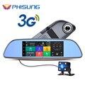 Livre 32 GB cartão + 3G DVR + Android 5.0 GPS Bluetooth FM transmissor Do Carro de lente Dupla espelho retrovisor camera + FHD1080P camara automovil