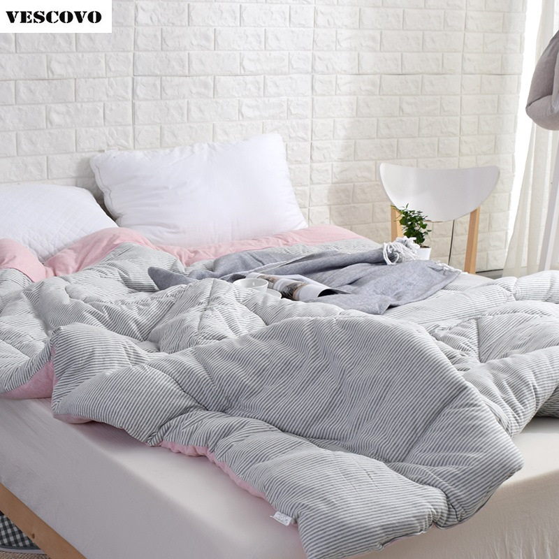 100 Cotton Infiiling Jersey Duvet Comforter Japanese Style Stripe Design winter thick winter warm cotton quilts