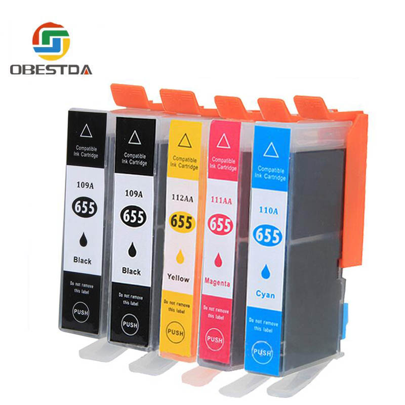 5pcs Compatible Ink Cartridge for HP 655 for hp655 Replacemen for HP deskjet 3525 5525 4615 4625 4525 6520 6525 Printer image