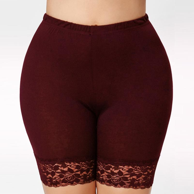 Womens <font><b>Plus</b></font> <font><b>Size</b></font> Mid Waist pants <font><b>Lace</b></font> Hot <font><b>Shorts</b></font> Elastic women Pants <font><b>plus</b></font> <font><b>size</b></font> Trunks High Waist <font><b>Short</b></font> Pants Trousers Femme #F image