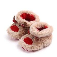 Зимняя Теплая обувь для маленьких девочек и мальчиков; Muply; обувь для малышей с рождественским оленем; нескользящая обувь для новорожденных; обувь для маленьких девочек
