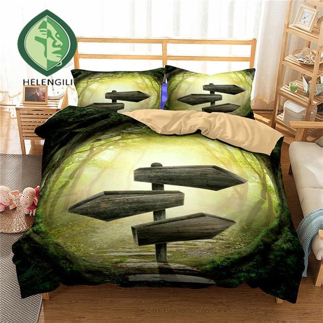 HELENGILI 3D Bedding Set Forest dreamland Print Duvet cover set lifelike bedclothes with pillowcase bed set home Textiles #2-10