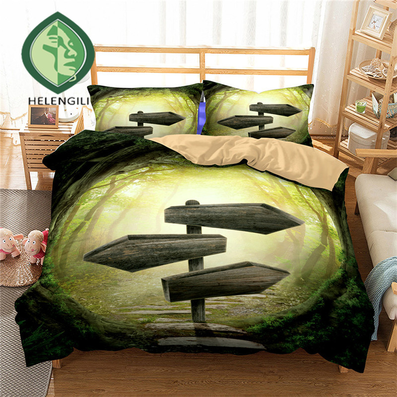 HELENGILI 3D Bedding Set Forest dreamland Print Duvet cover set lifelike bedclothes with pillowcase bed set home Textiles #2-10