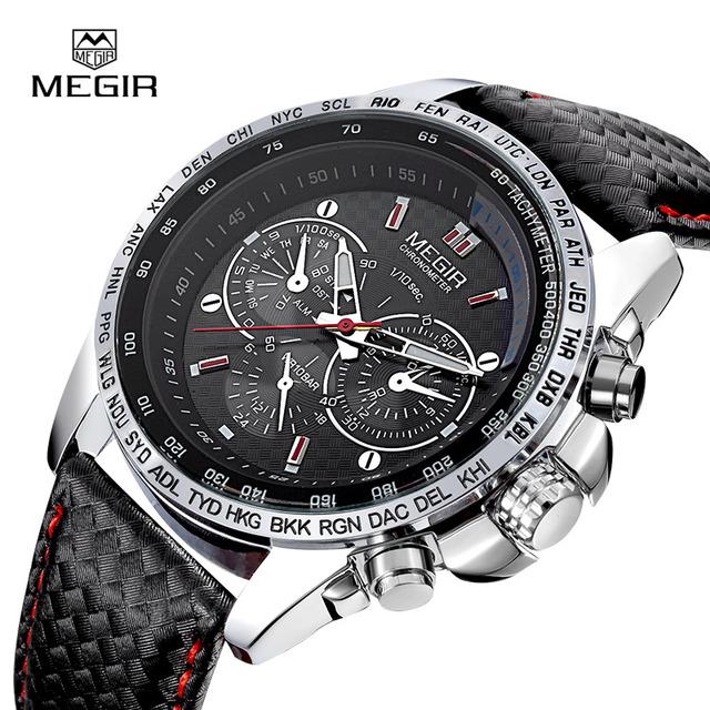 MEGIR hot fashion man's quartz wristwatch brand waterproof leather watches for men casual black watch for male 1010