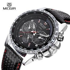 Image 2 - MEGIR حار رجل الموضة كوارتز ساعة اليد العلامة التجارية مقاوم للماء ساعات جلد للرجال عادية ساعة سوداء للذكور 1010