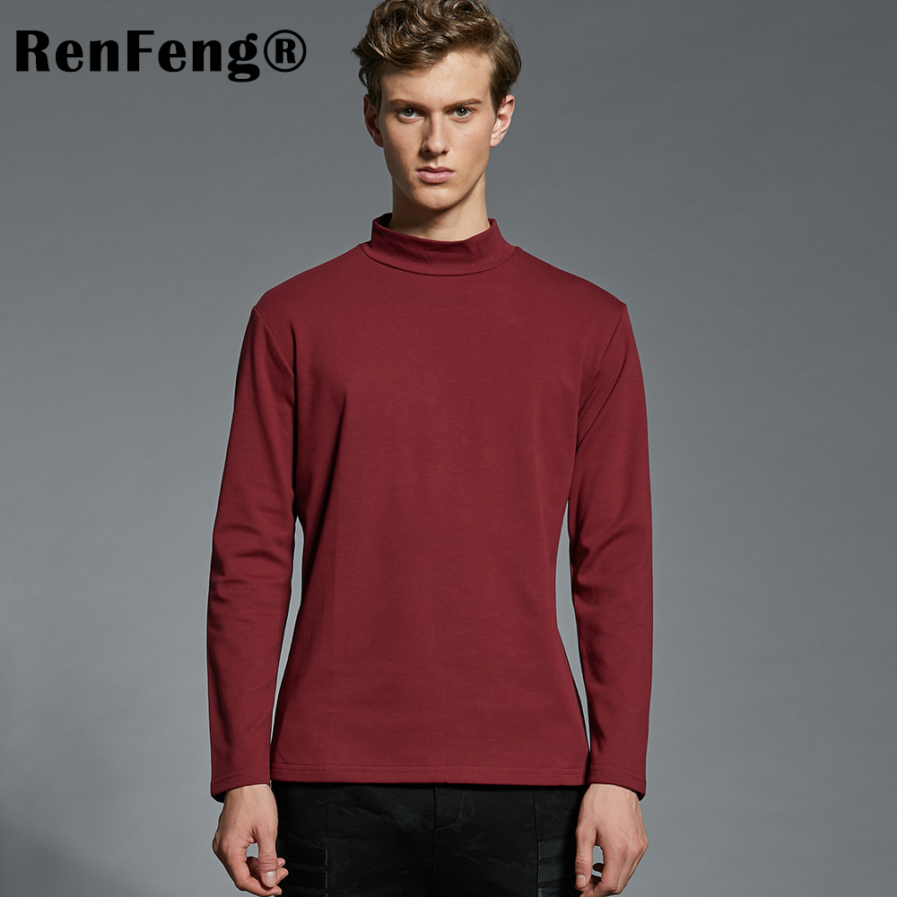 2018 Summer Mens Undershirts Long Sleeve Turtleneck Undershirt Men