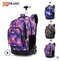18 inch Wielen rugzak kids School rugzak Op wielen Trolley rugzakken tassen voor tieners Kinderen Rollende rugzak