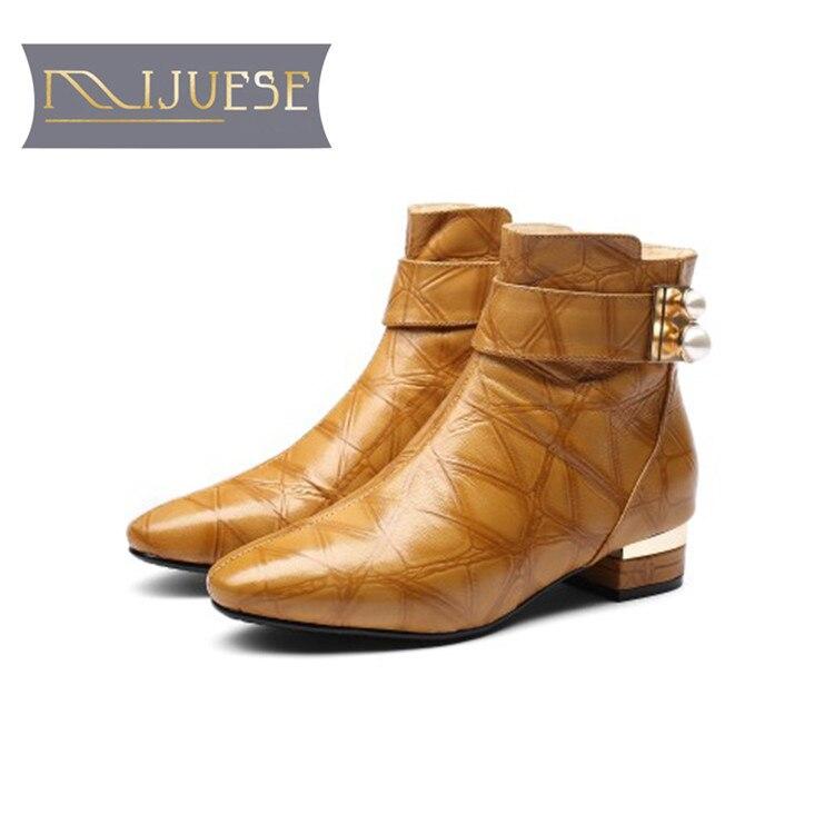 MLJUESE 2019 women ankle boots 양 가죽 단추사이의 yellow color 넥 라인의 진주 winter warm 퍼 boots) 저 (low) 힐 women boots size 33  43-에서앵클 부츠부터 신발 의  그룹 2