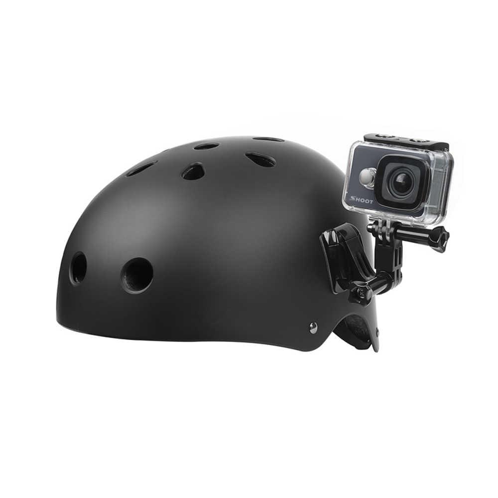 SHOOT tres vías ajustable casco abrazadera pivote brazo montaje para GoPro Hero 8 7 5 6 Xiaomi Yi 4K SJCAM SJ4000 SJ5000 Go Pro accesorio