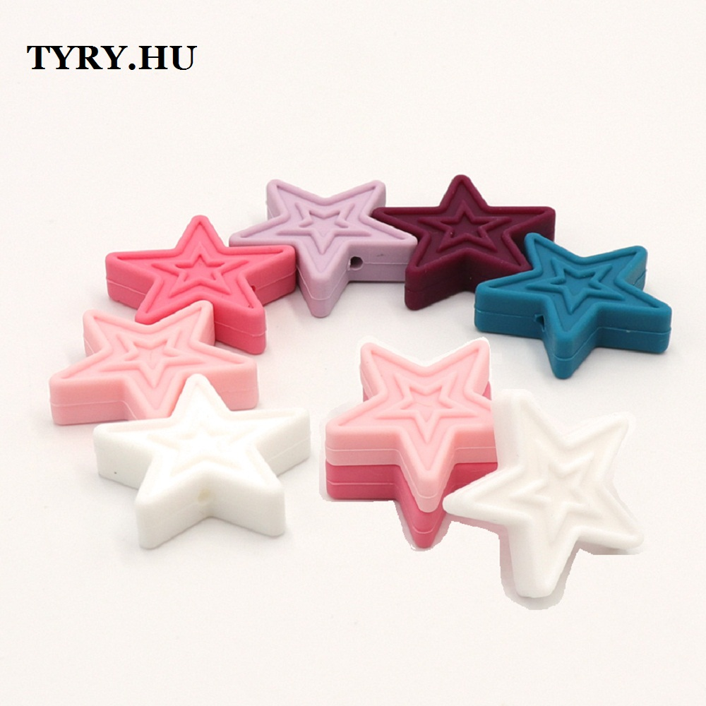 TYRY.HU 10pcs Silicone Star Beads For Baby Teething Toys Pendant DIY Beads Flower BPA Free Silicone Beads For Baby Teether Gift