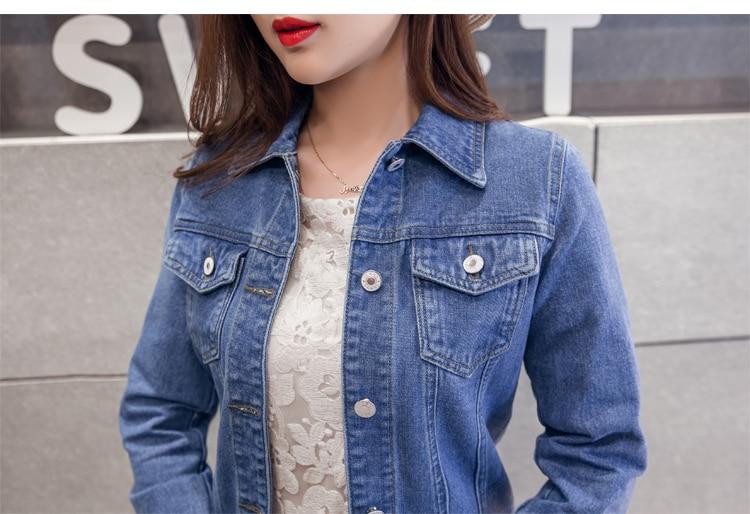 HTB1hpJRnKuSBuNjy1Xcq6AYjFXaG Spring Autumn Women Clothing Cowboy Coat Loose Long Sleeve Short Female Denim Jacket White Black Blue Pink Bomber Jacket Coats