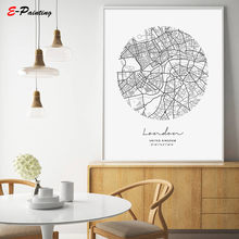 London City Map Modern Canvas Painting Nordic Posters and Prints Wall Art Pictures for Living Room Home Decoration No Frame(China)