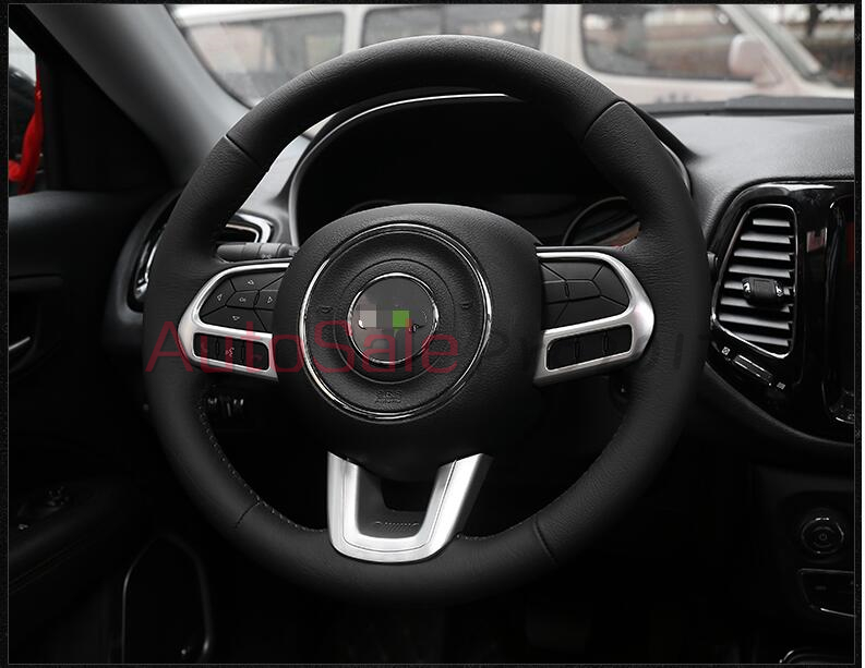 Matt ABS chrome plastic and carbon fiber colour Interior Steering Wheel Button Cover Trim 3pcs for Jeep Compass 2017 2018