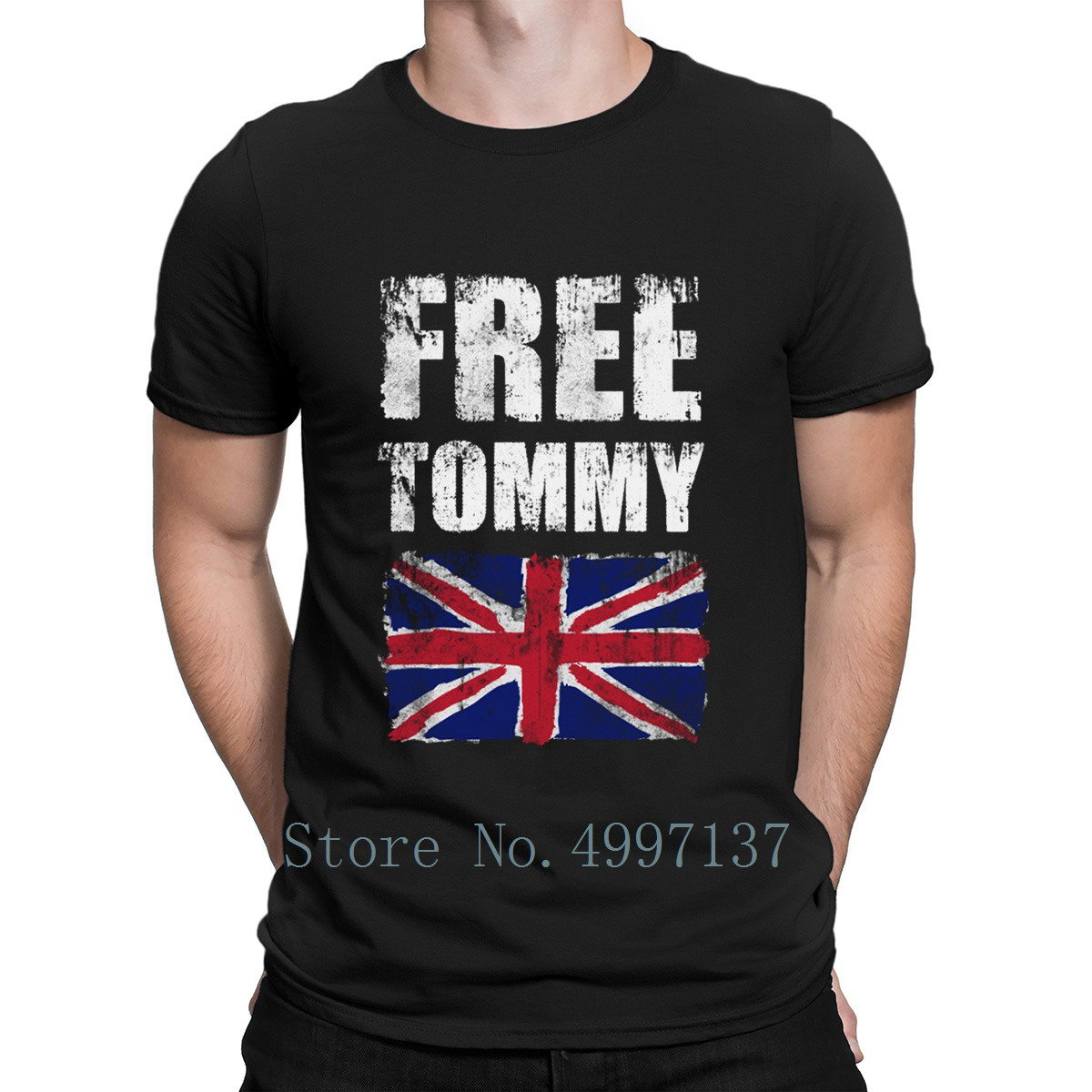Freetommy Robinson Uk Flag T Shirt Funny Summer Cute Tee Shirt Normal Plus Size 3xl Designer Normal Shirt image