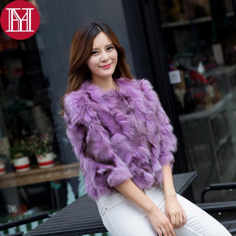 Manteau Qualité 2017 Renard Fourrure Femmes Vente Naturel 100 Purple Véritable Chaude Réel De Survêtement Mode Courte Veste Dames Bonne azRqrCxaw