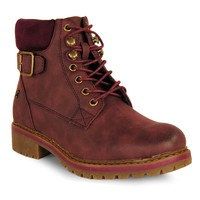 Refresh Women Ankle Boot lacing Buckle Burgundy