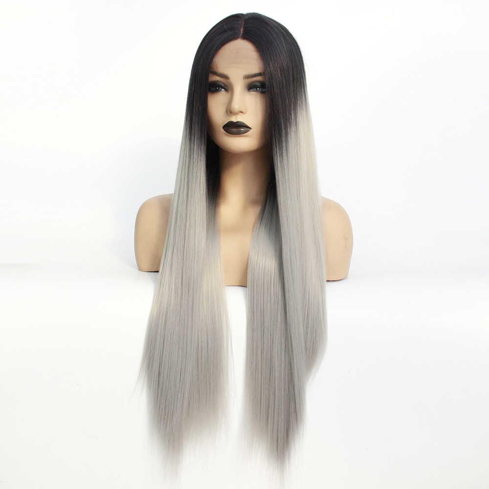 Длинные средняя часть парик с эффектом деграде (переход от темного к серый Синтетические волосы на кружеве парик для Для женщин девочек Косплэй ежедневные вечерние термостойкие полные парики прямые волосы