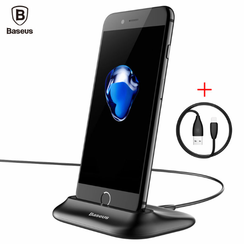 Baseus Sync Data Charging Dock Station For Lightning Cell Phone Desktop Docking <font><b>Charger</b></font> <font><b>USB</b></font> Cable For iPhone 7 6 6s Plus se 5s <font><b>5</b></font> image
