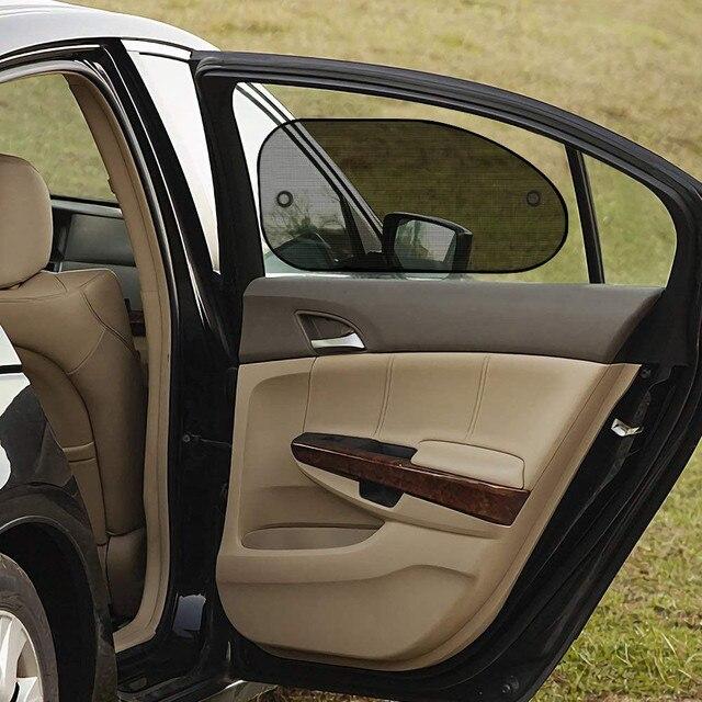 2 個車カーテンシックなメッシュ車のサイドウィンドウしがみつく日よけサンシェイドカバーバイザーshiel日除けオートカーアクセサリー