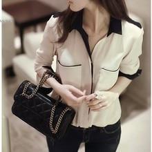 Hot Sale  Fashion Solid Color Women's OL Elegant Long Sleeve Chiffon Shirt Blouse Women Tops Plus Size S-XL A6