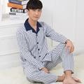 Top puality! Pyjamas men autumn adn winter 100% cotton long sleeve pajamas set nightgown  plus size nightwear for male