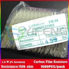 New! 1000 шт. Резисторы 150 К ОМ ОМ 1/6 Вт 5% = 1/8 Вт 5% Углеродной Пленки