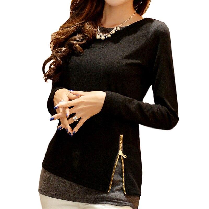 Женская футболка, с длинным рукавом, на молнии