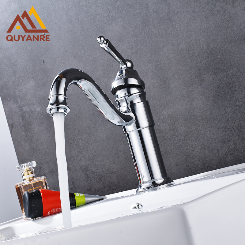 Chrome Sink Basin Faucet One Handle Single Hole With Hot