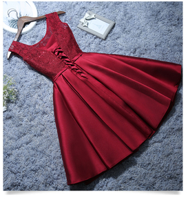 Image 3 - 2020 Sweet Memory Satin Lace Wine Red Short White Evening Dresses Homecoming Graduation Dresses Robe Gray Party Formal Dress