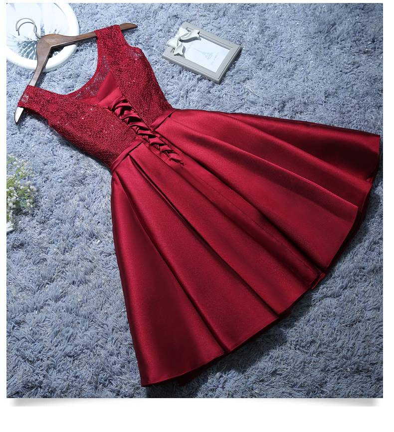 Image 3 - Satin Lace Wine Red Short White Evening Dresses 2019 New Homecoming Graduation Dresses Robe Gray Party Formal Dress C1929-in Evening Dresses from Weddings & Events