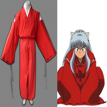 HOT Anime InuYasha Cosplay Costume RED Kimono For Unisex Halloween Party