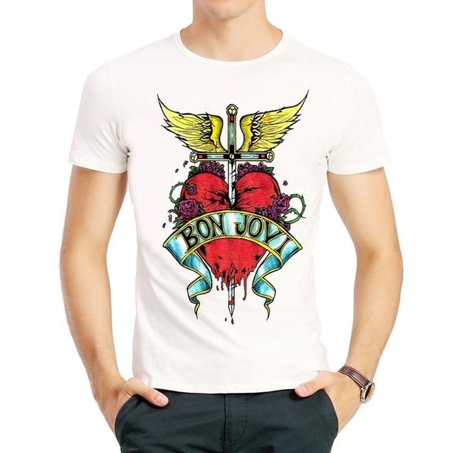 4b51710bff2 Bon Jovi T Shirt Fashion Star Short Sleeve White Color Star Bon Jovi Logo T-