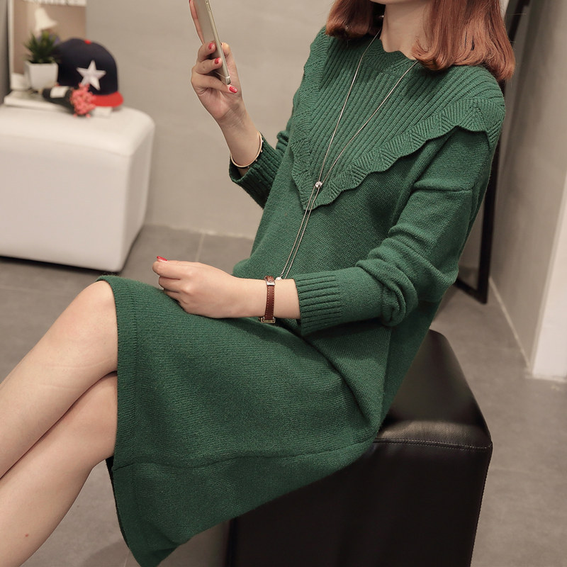 Women Dress Solid Color Spring Warm Thick Long Sleeve Loose Straight Knee Length Mujer Plus Size Femme Casual Dress MZ2456