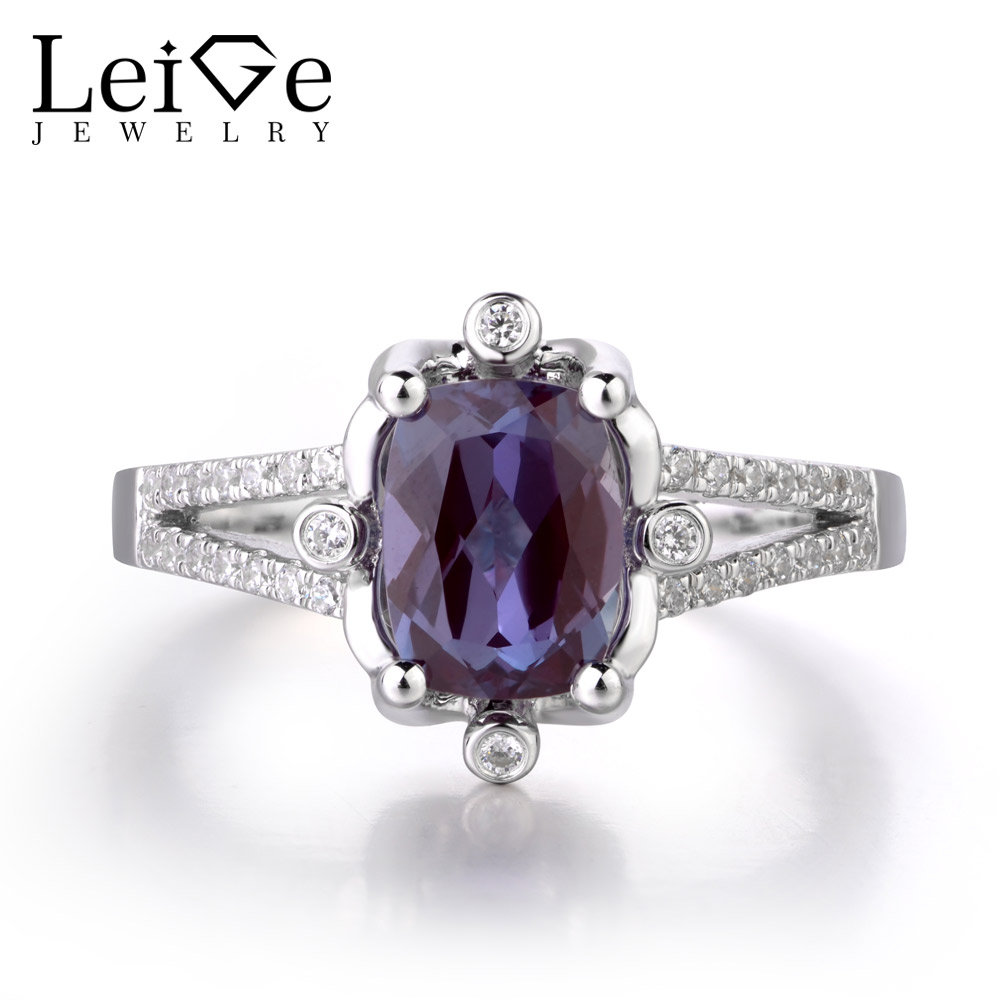 Leige Jewelry Lab Alexandrite Gemstone June Birthstone Cocktail Party Rings Romantic Gifts For Woman 925 Sterling