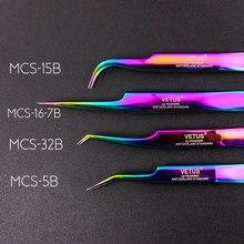 Vetus-pinzas 100% originales, Serie MCS, nuevo estilo prémium, punta ultrafina mejorada para extensiones de pestaña de 3D y 6D