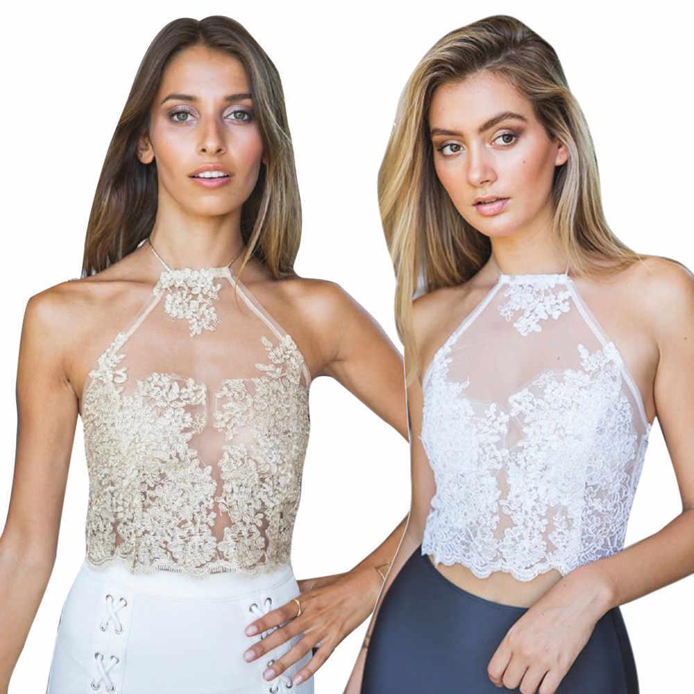 aed017bcc03 Hot Sale 2018 Summer Sexy Halter Backless Crochet Top Sleeveless Women Lace  Crochet Crop Top Hollow