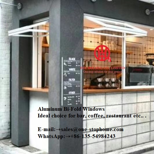 Fashion Aluminum Bifold Window With Wide Field Vision,cake/shop Window Not Occupy The Bottom Of The Indoor And Outdoor Space