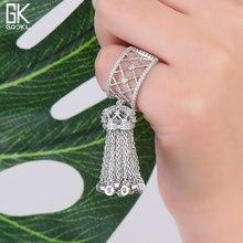 GODKI Luxury Full Cubic Zironia Engagement Dubai Nigerian Bridal Statement Tassels Finger Rings For Women Wedding Trendy Jewelry
