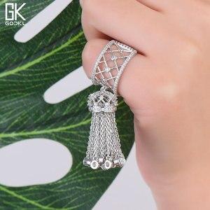 Image 1 - GODKI anneaux de luxe pour femmes, bijoux de mariage, avec glands, pour femmes, déclaration de fiançailles, pivoine cubique, dubaï