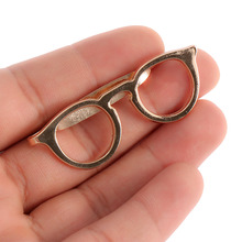 1pc Formal Business Alloy Gold Glasses Shape Tie Clip for Men Suits Necktie Clips Tie Bar Clasp Pin Shirt Pocket Clip Jewelry