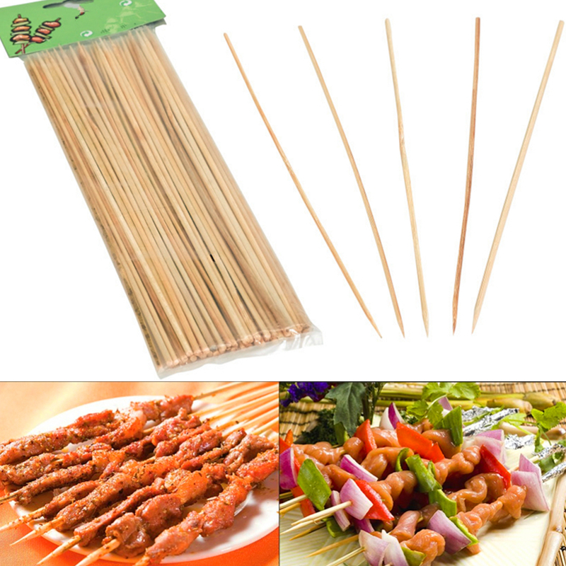 DoreenBeads Bamboo Skewers Grill Shish Wood Sticks Barbecue Tools Outdoor Family Friends BBQ Skewer Sticks, 1 Pack (30Pcs/Pack)