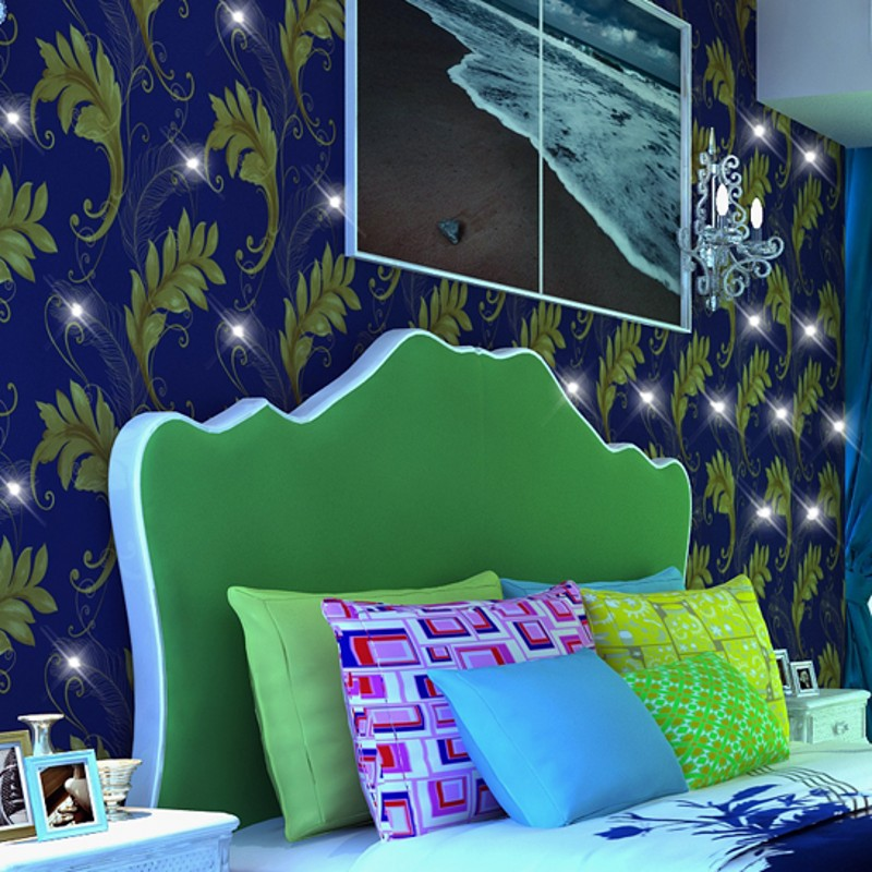 beibehang diamond peacock feather wallpaper Continental Damascus wall paper Wall covering Bedroom 3d Papel De Parede Roll beibehang peacock deep blue feather