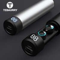 TWS Bluetooth Earphone Wireless Headphones 6D Stereo Wireless Earphones Mini Earbuds with Mic 2600mAh Charging Bin Power Bank