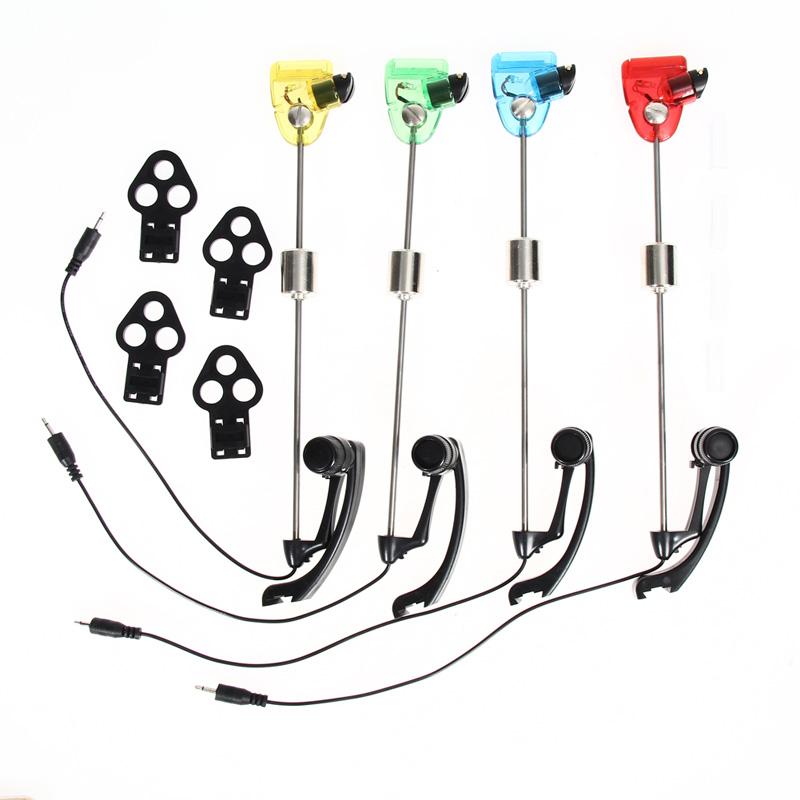 Prix pour Bite alarm set 4 pcs Indicateurs Swinger De Pêche lumineux LED W/Cas Carpe De Pêche Outils Accessoires EA14