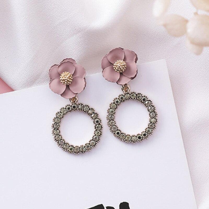 2019 New Vintage Fabric Flower Full Rhinestone Loop Drop Earrings For Women Ladies Chic Cherry Blossoms Korean Dangle Earrings