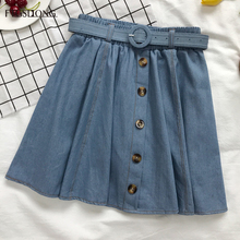 FTGSDLONG Blue Denim Skirts Ladies 2019 Summer Fashion Women High Waist Button Skirt Casual Loose Mini Belt Jeans Skirt A Line fashion cute infant baby girl button a line mini skirts button party slim princess pageant skirt