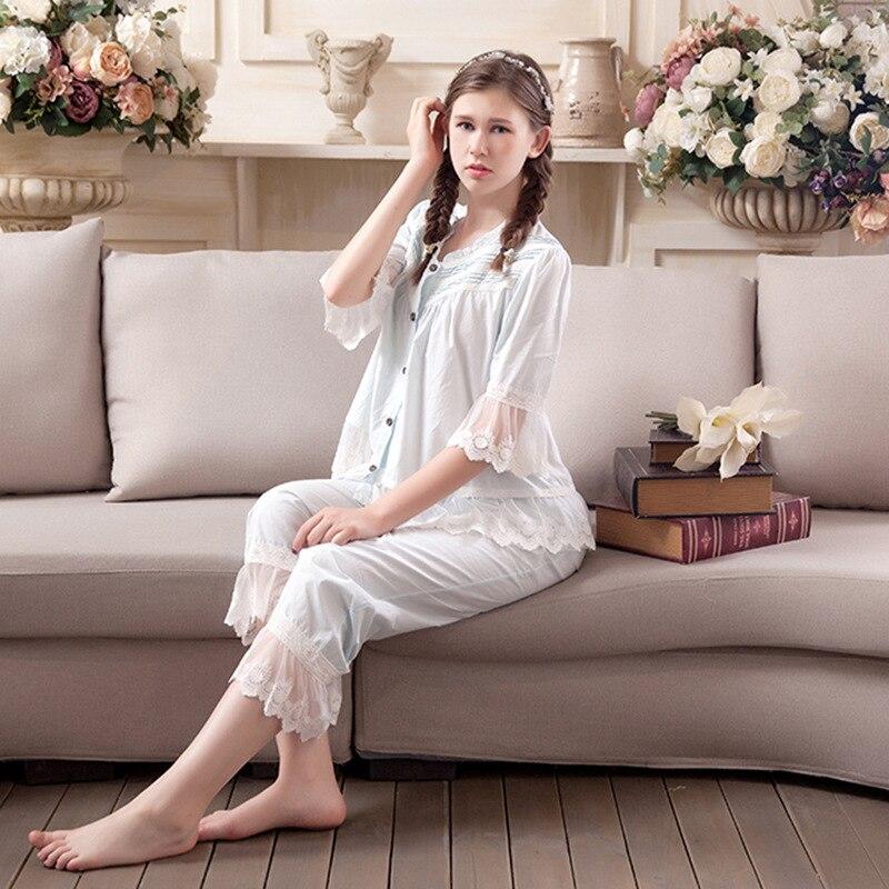 2019 New Summer Sleepwear Women s Pajamas Sets Vintage Sweet Princess Lace Cotton Lady Pyjamas Set