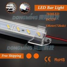 5pcs 100cm 12V led light bar 7020 led luces strip light 1m + U aluminum Profile + PC milky/clear cover + DC connectors