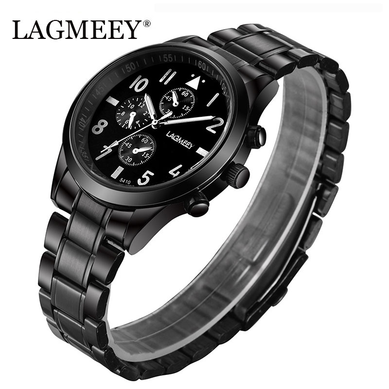 LAGMEEY Famous Brand Men Military Watch Steel Black Stainless Steel Men Watches Army Quartz Wristwatch Metal reloj hombre 2017 фитоцедра шампунь себорегулир 200мл